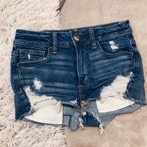 American Eagle Hi Rise Distressed Denim Shorts